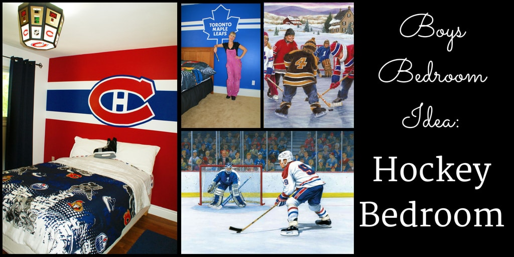 Hockey bedroom ideas including wallpaper murals and hand-painted murals from AboutMurals.ca