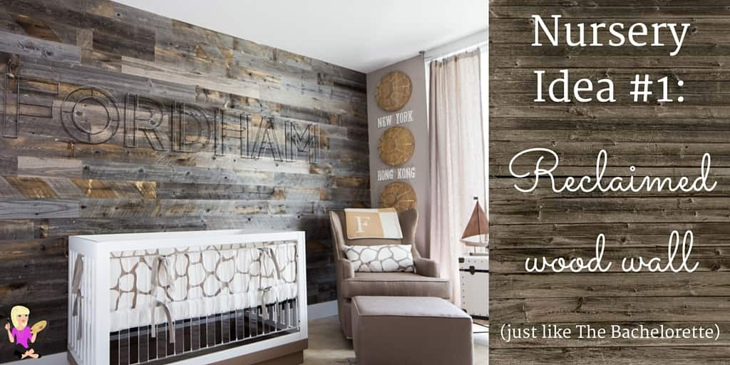 A photo of a baby nursery with a barn wood wall, crib and chair