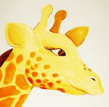A close up of a giraffe in a jungle wall mural, painted by Adrienne of AboutMurals.ca