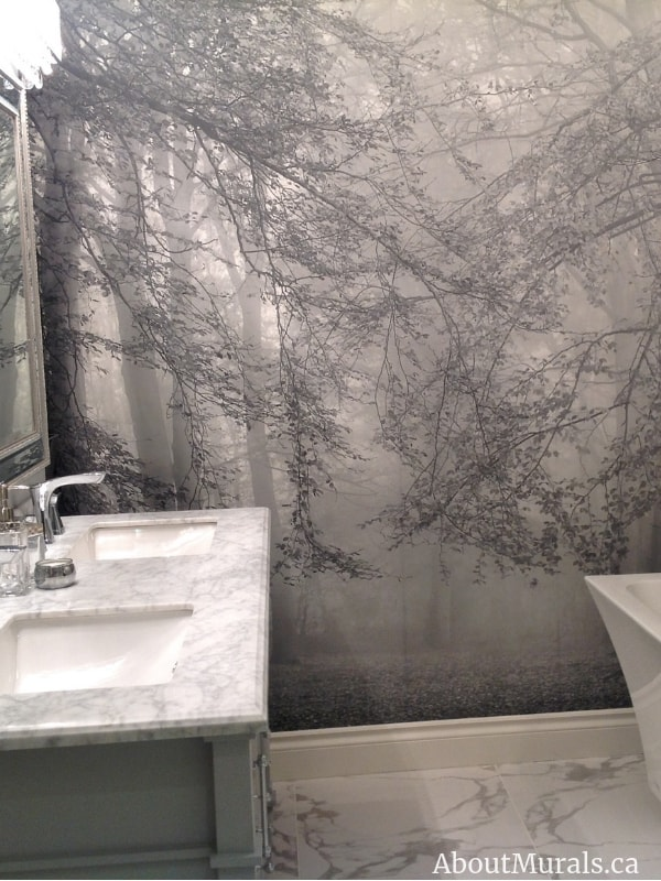 Autumn is Here Wall Mural Black and White in a grey bathroom, sold by AboutMurals.ca