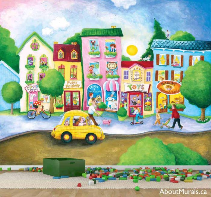 Candy Street Wall Mural, as seen in this playroom, is removable wallpaper featuring a bakery, candy store, circus school, pet shop and toy store. Sold by AboutMurals.ca
