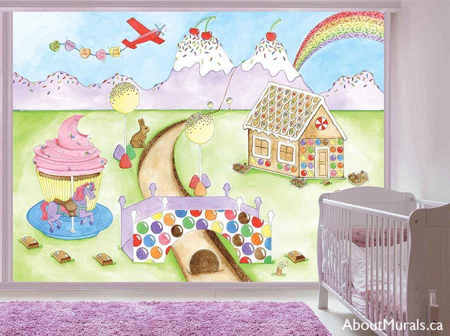 Candy World Wall Mural, as seen in this purple nursery, is a painting of a candyland full of ice cream mountains, a gingerbread house and a cupcake carousel. Removable wallpaper sold by AboutMurals.ca