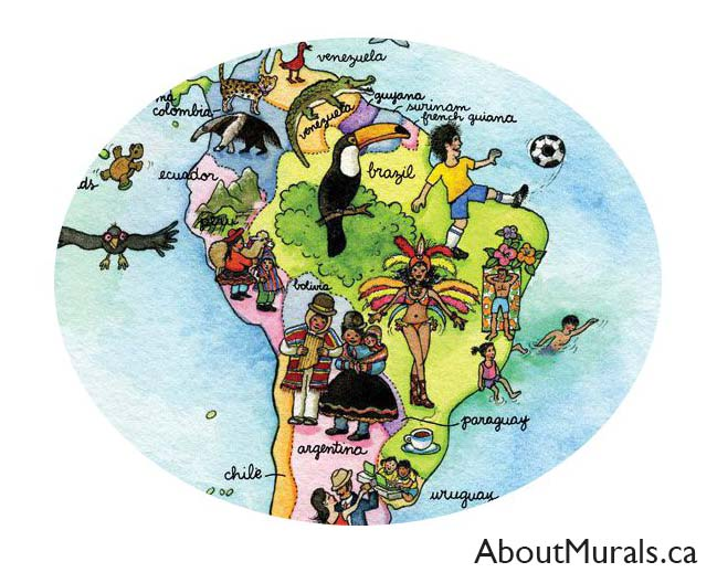 A closeup of a kids world map wall mural showing people and animals of south america