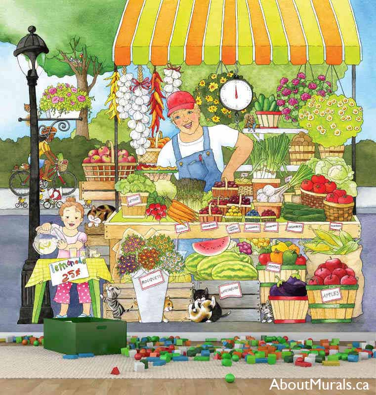 Market Place wall mural, as seen in this playroom, features a farmer and his daughter selling fruit, vegetables and lemonade. Removable wallpaper sold by AboutMurals.ca