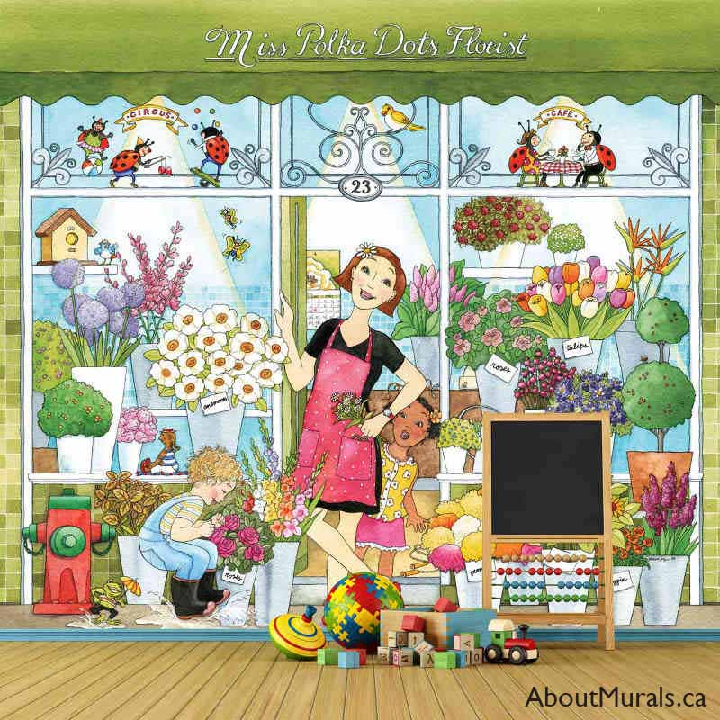 A kids wall mural in a playroom featuring a florist standing in front of her flower shop