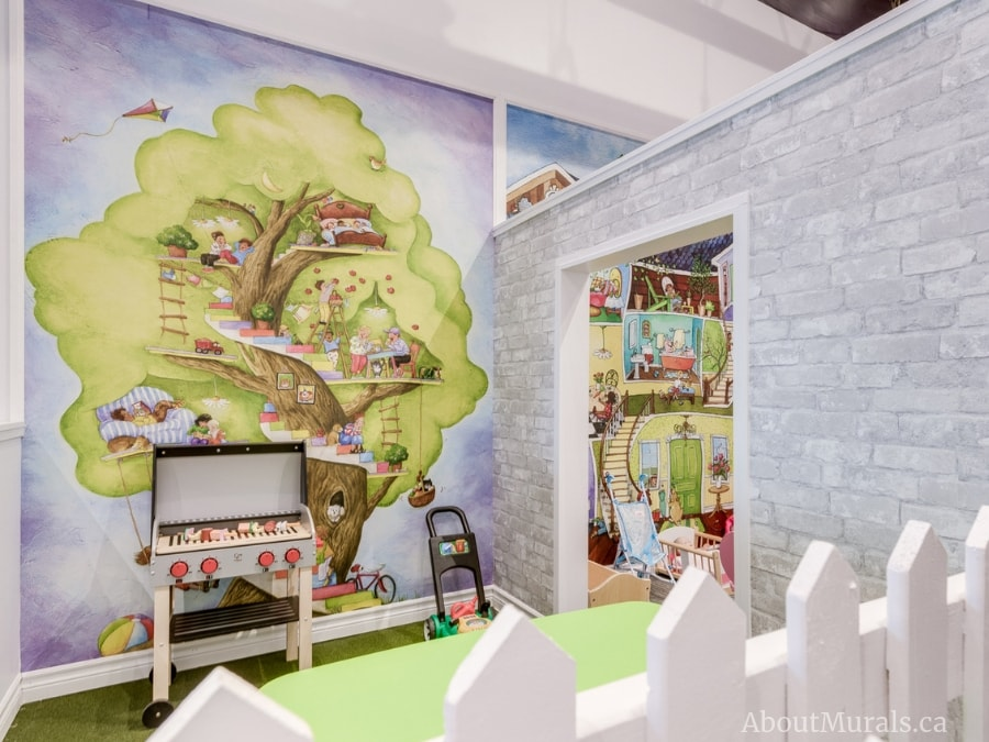 My tree house wall mural, as seen at Playville Indoor Play Centre, features kids playing in a treehouse. Removable wallpaper sold by AboutMurals.ca