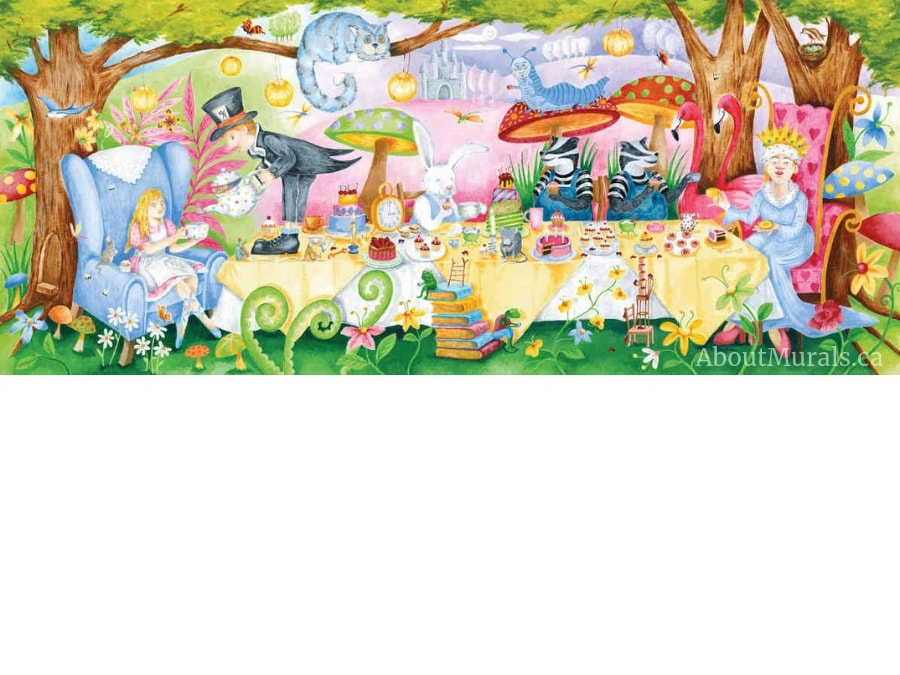 The Tea Party wall mural features Alice in Wonderland having tea with the Queen of Hearts, Cheshire Cat and Mad Hatter. Removable wallpaper sold by AboutMurals.ca