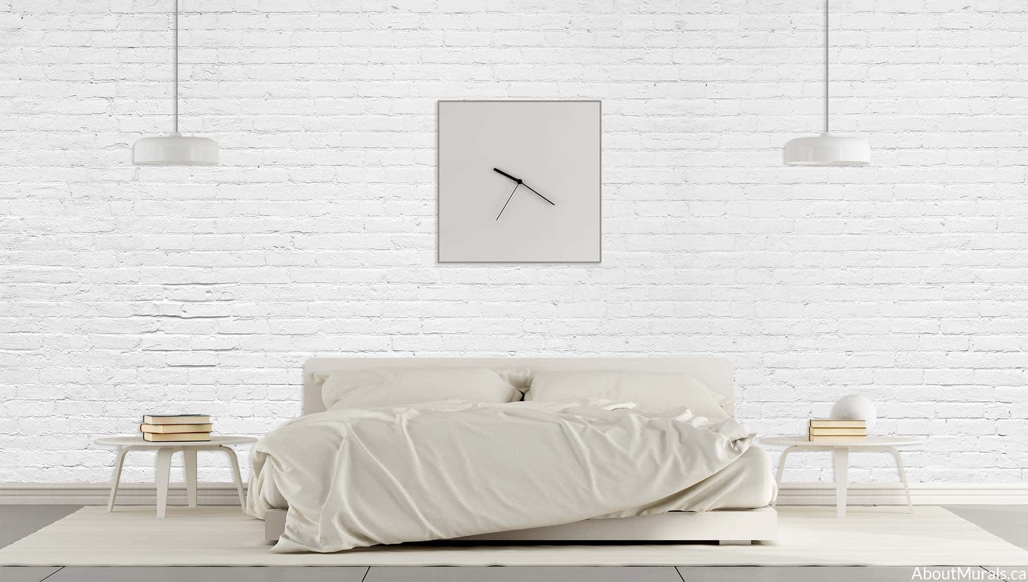 A white brick wall mural in a white bedroom, sold by AboutMurals.ca