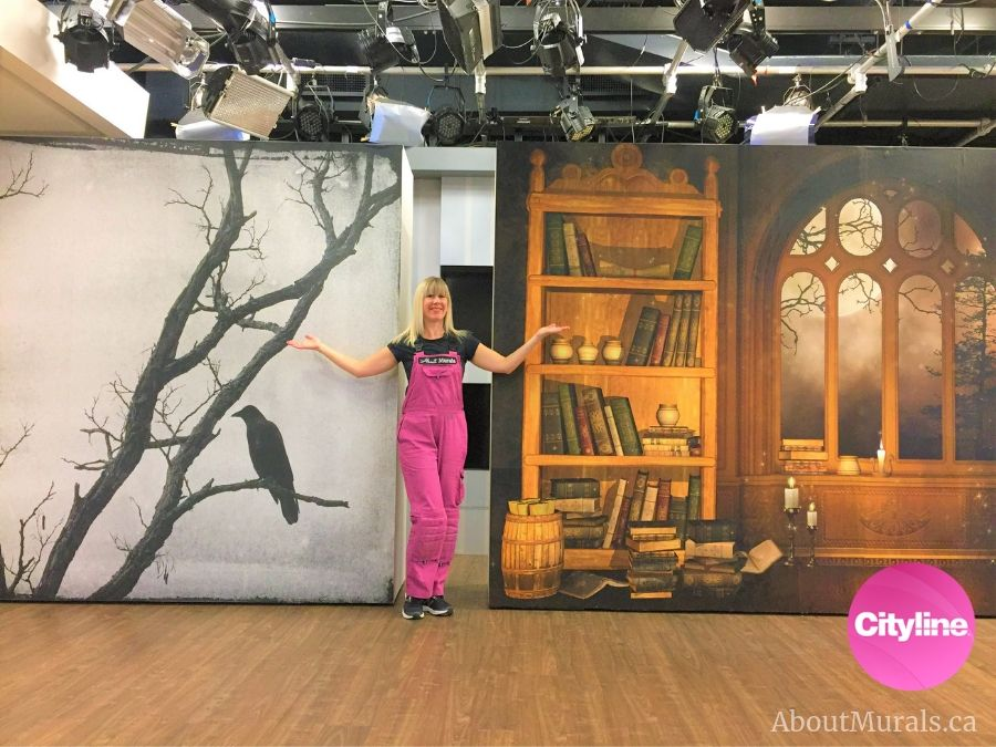 Two custom wallpaper murals created by AboutMurals.ca for the Halloween Spooktacular show on Cityline