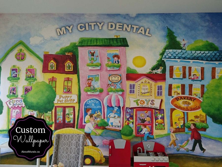 A custom wallpaper created for My City Dental, sold by AboutMurals.ca