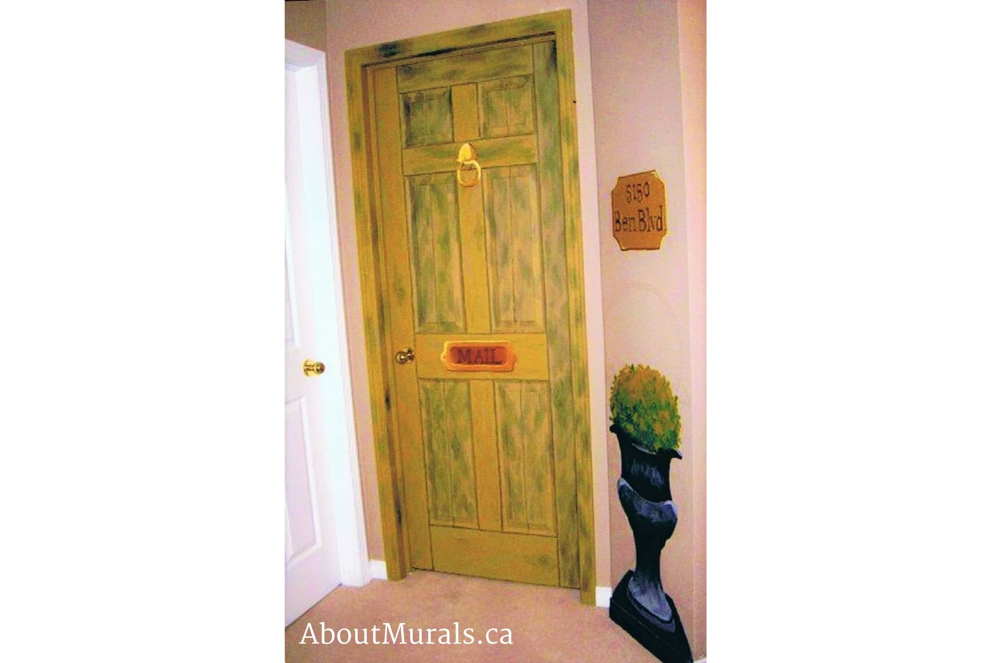 Mural painter Adrienne Scanlan painted this bedroom door on a kids bedroom to look like a front door