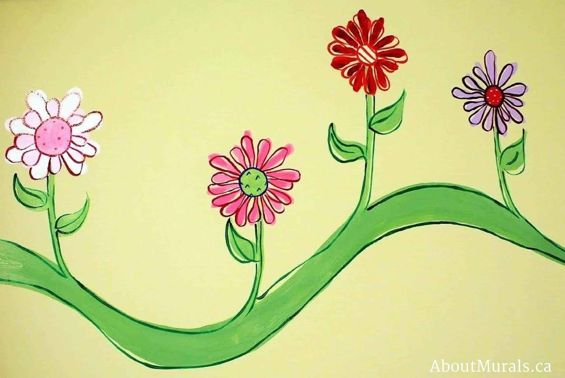 A kids wall mural featuring pretty flowers on a vine