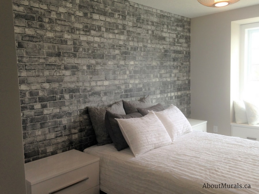 incredible white brick wallpaper bedroom | Grey Brick Wallpaper | Customer Photos from AboutMurals.ca