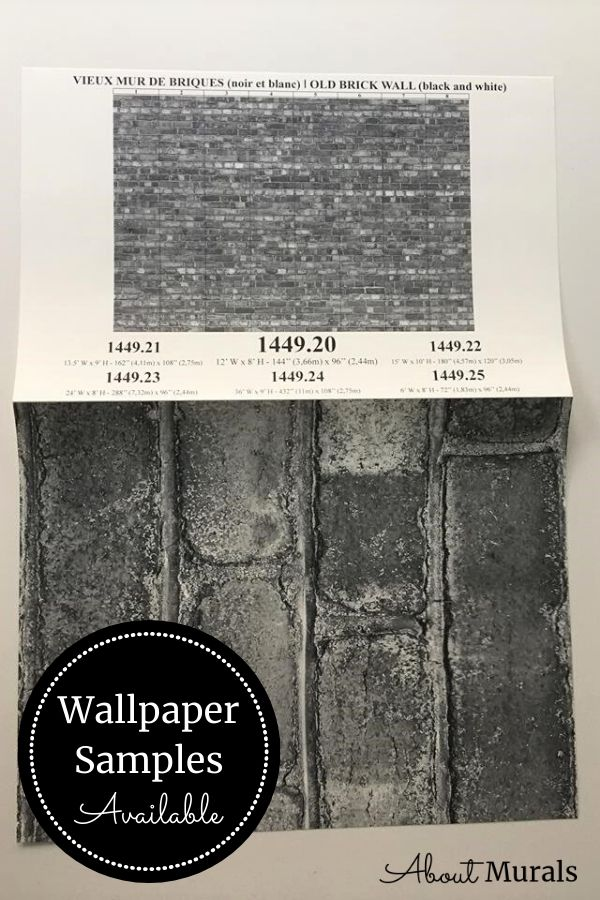 A grey brick wallpaper sample available from AboutMurals.ca
