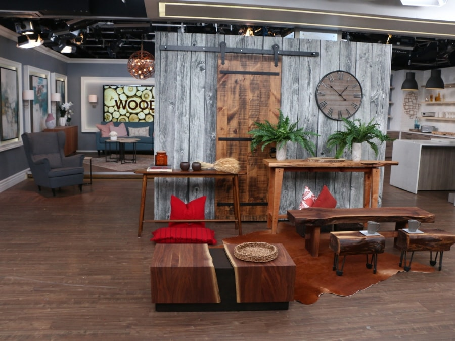 Adrienne installed this wood wallpaper on set at Cityline