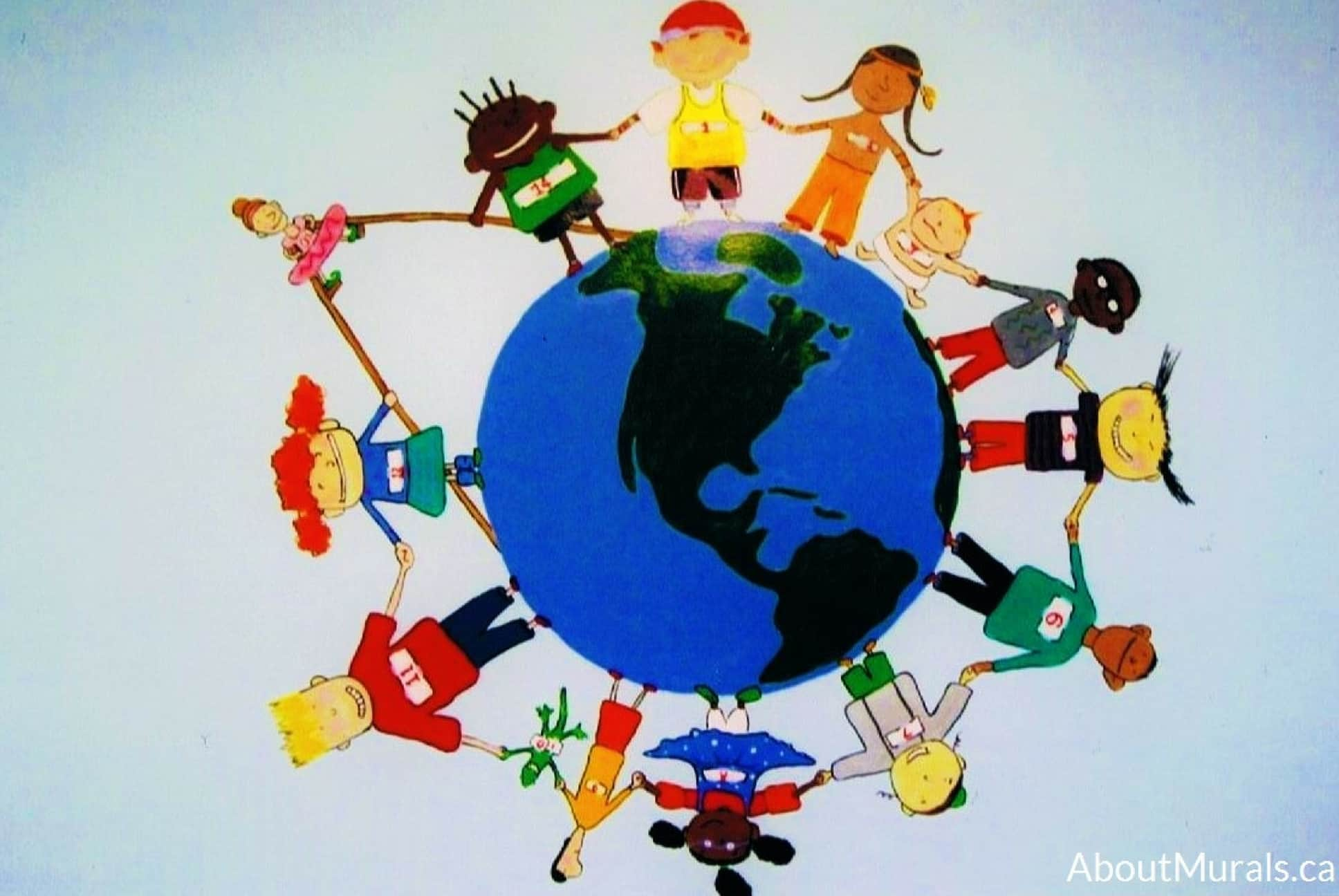 A kids wall mural featuring kids holding hands surrounding the earth