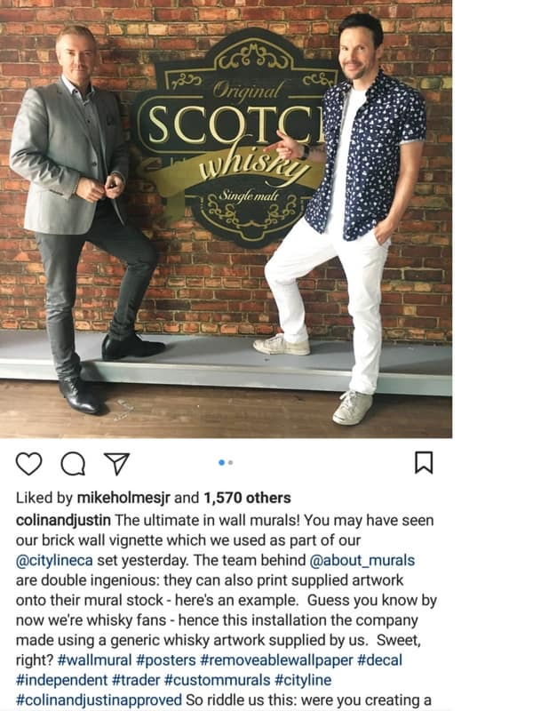 A custom brick wallpaper sits behind Colin and Justin in an Instagram testimonial