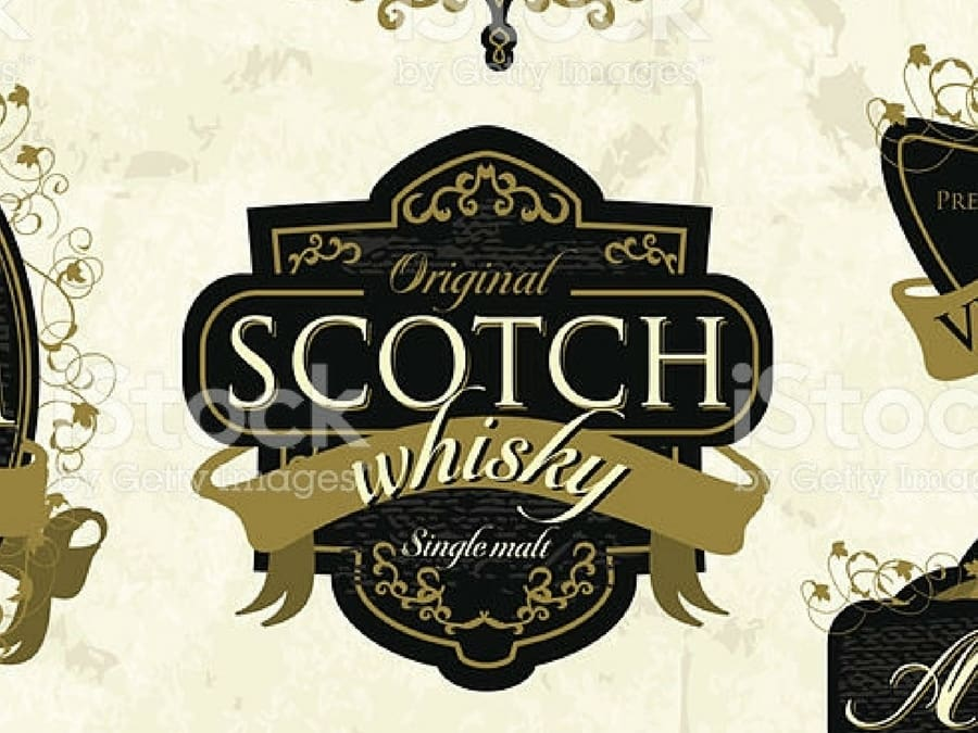 A scotch whisky label from istock used in a custom brick wallpaper by Colin and Justin