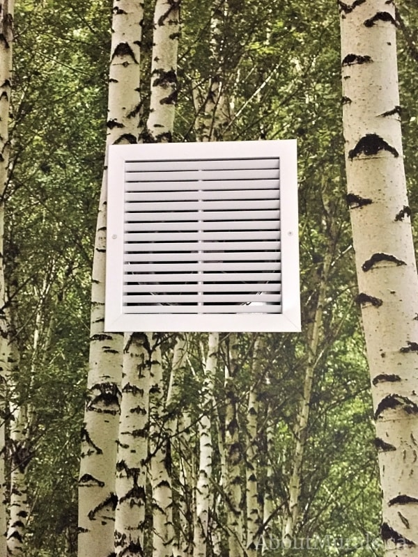 A green birch wallpaper is installed around a return air vent by AboutMurals.ca