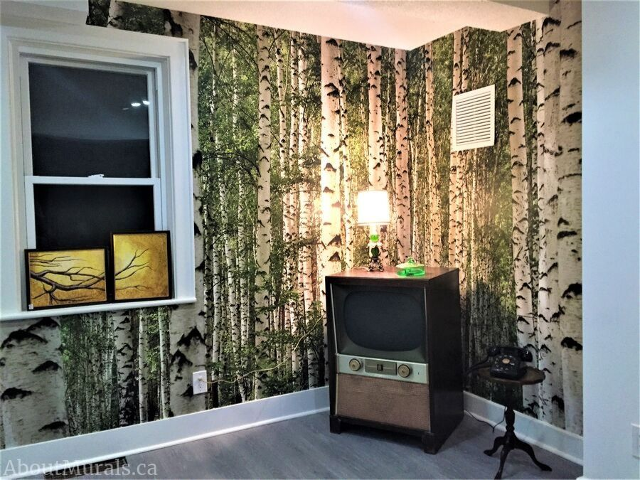 A birch wallpaper hung by AboutMurals.ca at Pete & Kay Diner in Hamilton, ON