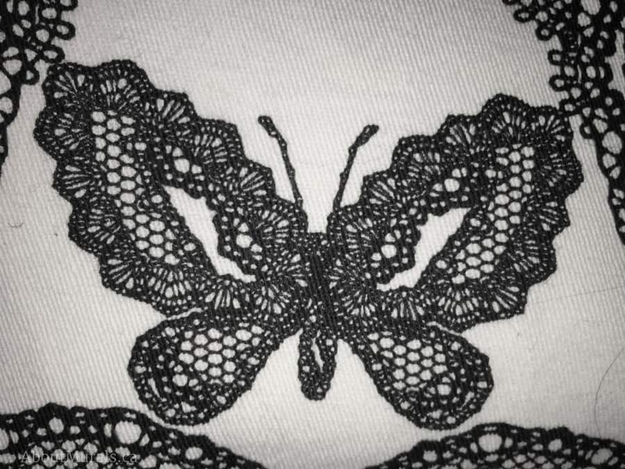 The inspirational butterfly from curtains used by Adrienne of AboutMurals.ca in her girly mural