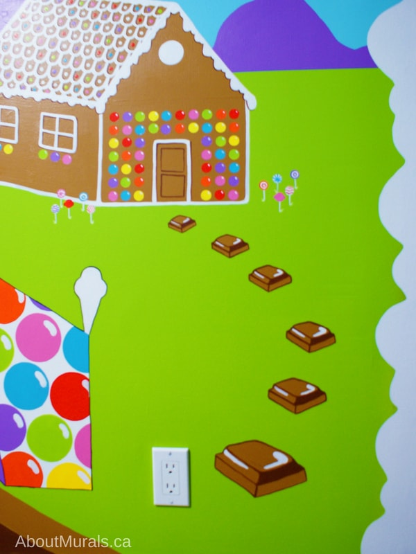 A gingerbread house, complete with chocolate stepping stones, in painted in a mural by Adrienne of AboutMurals.ca