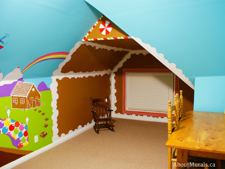 This candy mural features a walk in gingerbread house, painted by Adrienne of AboutMurals.ca