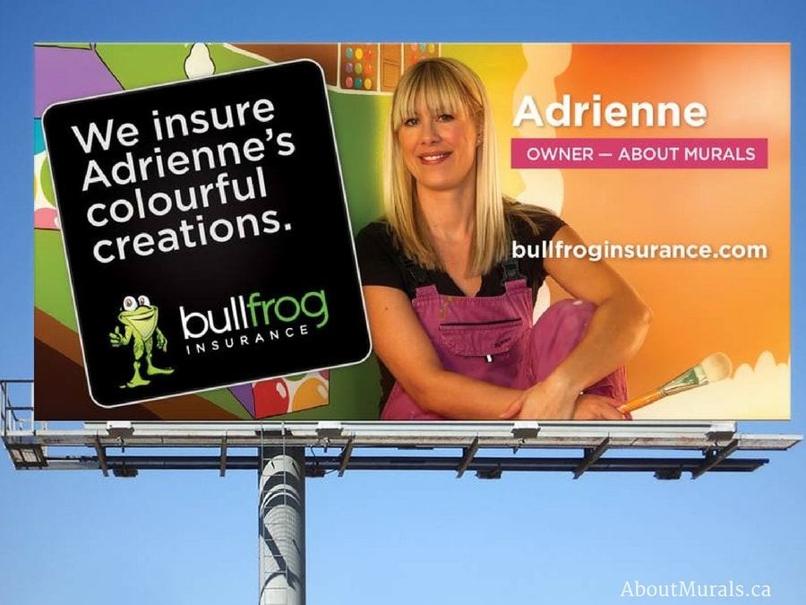 Muralist Adrienne and her hand-painted mural are featured on Bullfrog Insurance billboards all over Hamilton, Ontario
