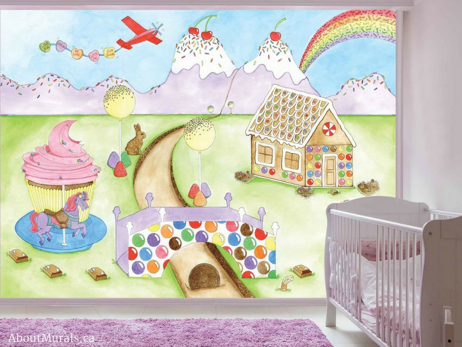 A candy mural turned into removable wallpaper from AboutMurals.ca