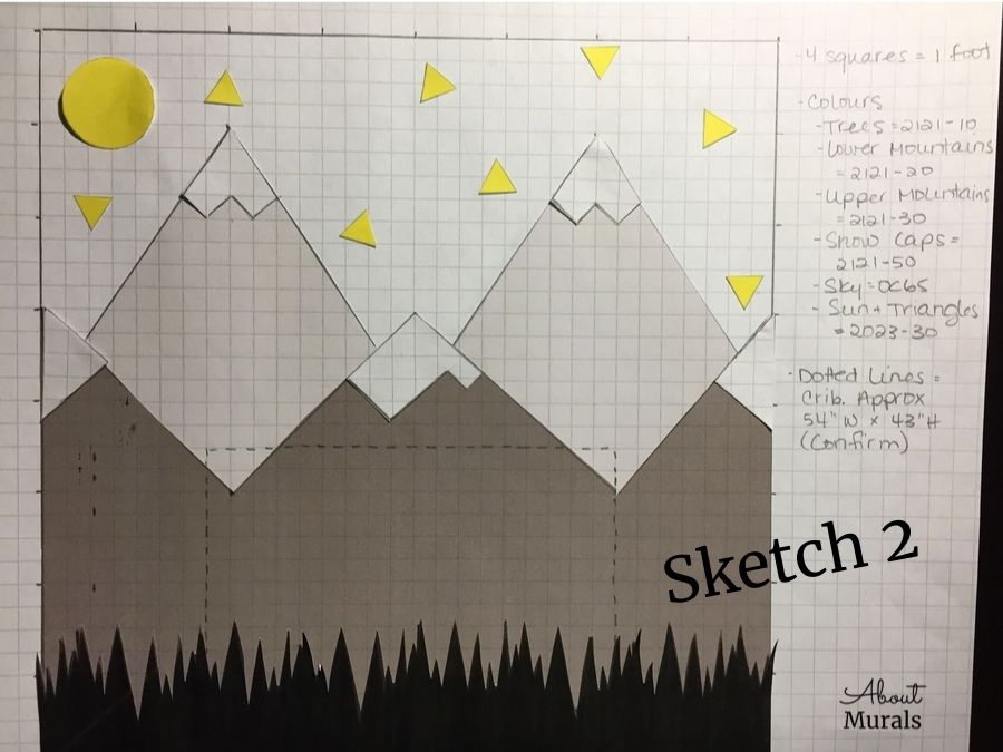 A sketch of a DIY mountain mural by AboutMurals.ca