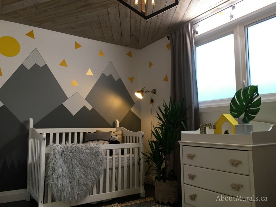 Nursery Mountain Mural painted by Adrienne of AboutMurals.ca for Holmes Next Generation TV show