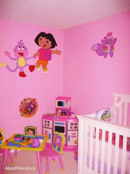 A Dora mural featuring Dora the Explorer, Boots and Tico, painted by Adrienne of AboutMurals.ca