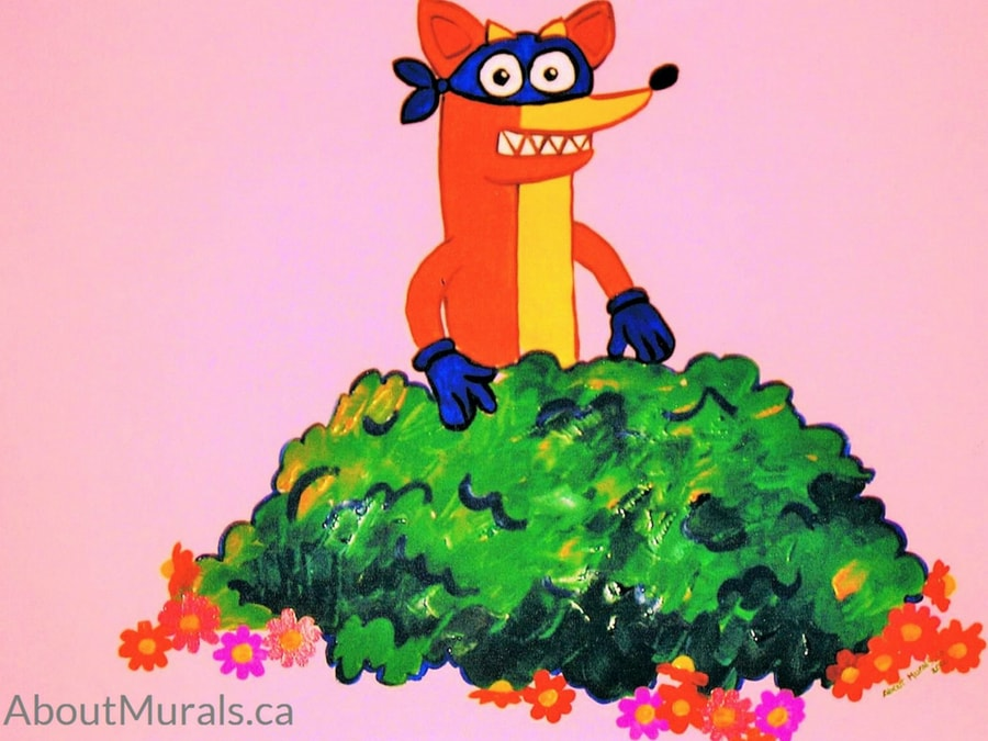 A Dora mural featuring Swiper, painted by Adrienne of AboutMurals.ca