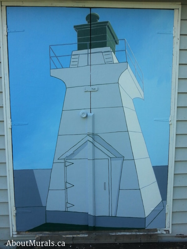 A lighthouse mural painted by Adrienne of AboutMurals.ca