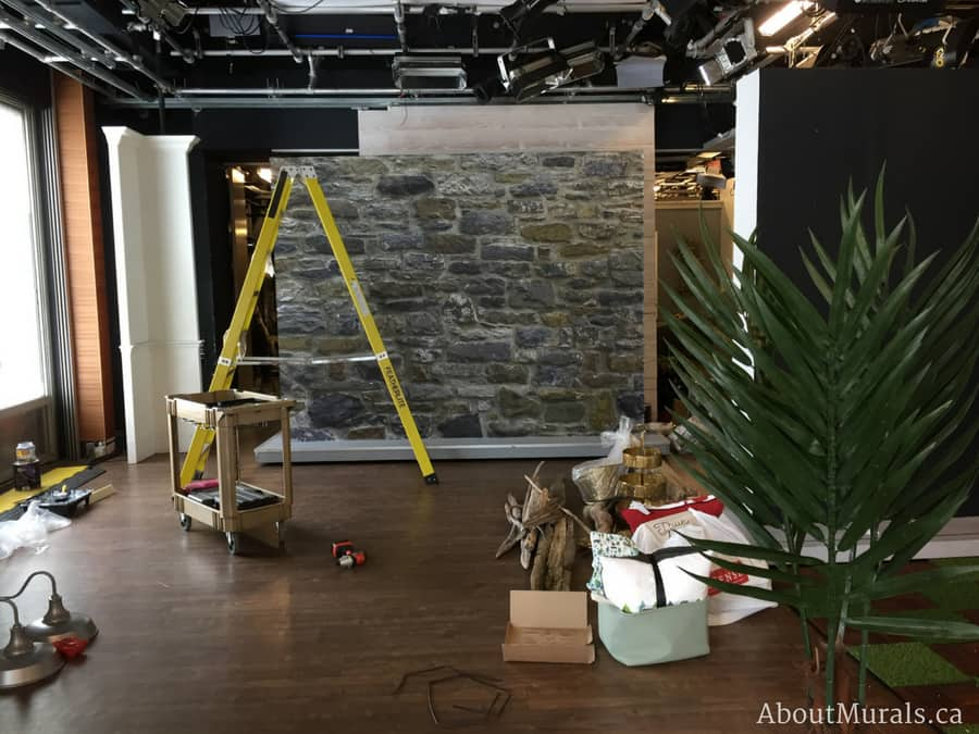 A stone wallpaper on Cityline installed by Adrienne of AboutMurals.ca