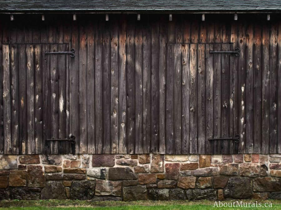 An old barn wallpaper sold by AboutMurals.ca