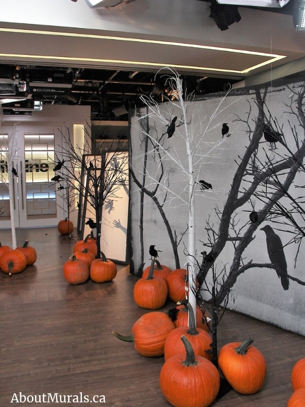 A Halloween mural on set at Cityline, supplied and hung by Adrienne of AboutMurals.ca