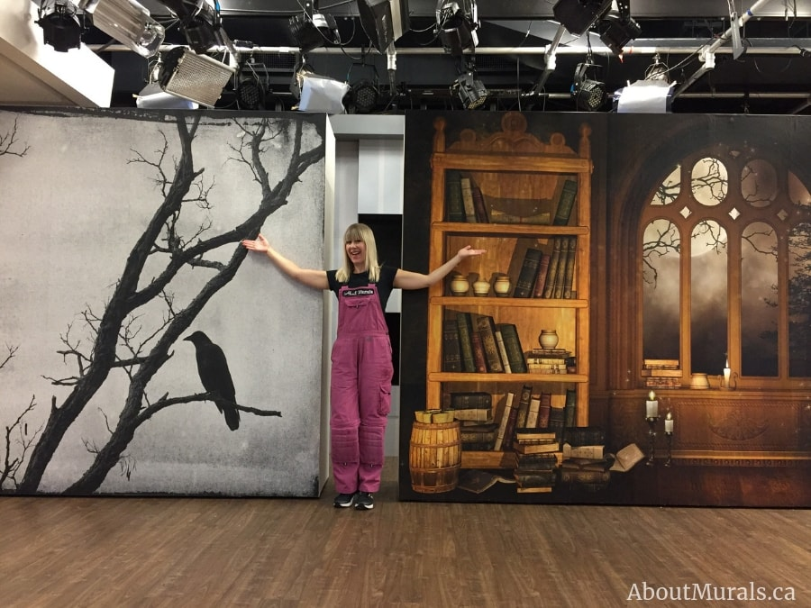 Two Halloween wall murals supplied and hung by Adrienne of AboutMurals.ca on set at Cityline