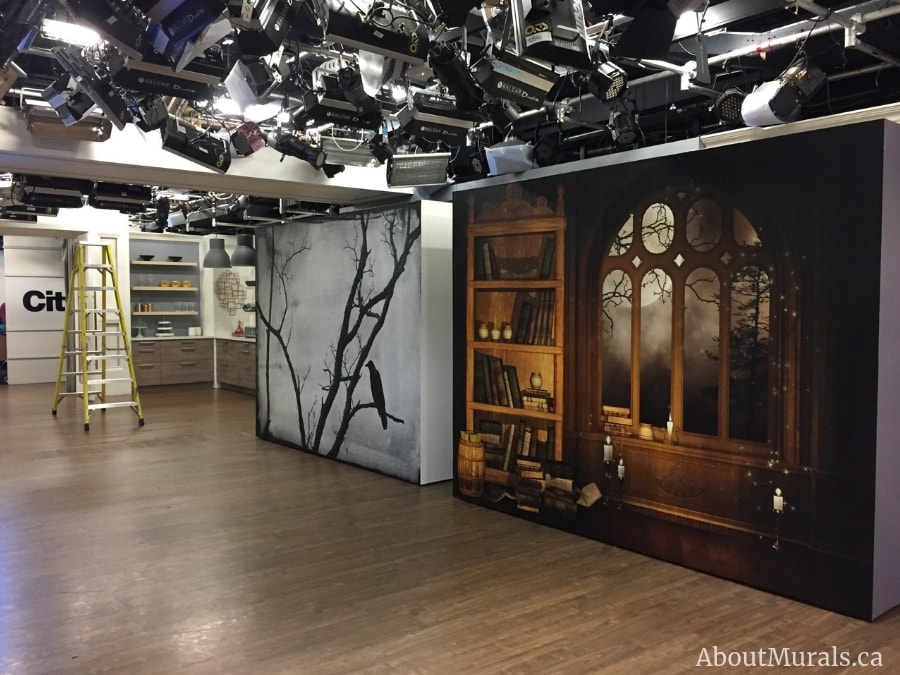 Two Halloween wall murals on set at Cityline, supplied and hung by Adrienne of AboutMurals.ca