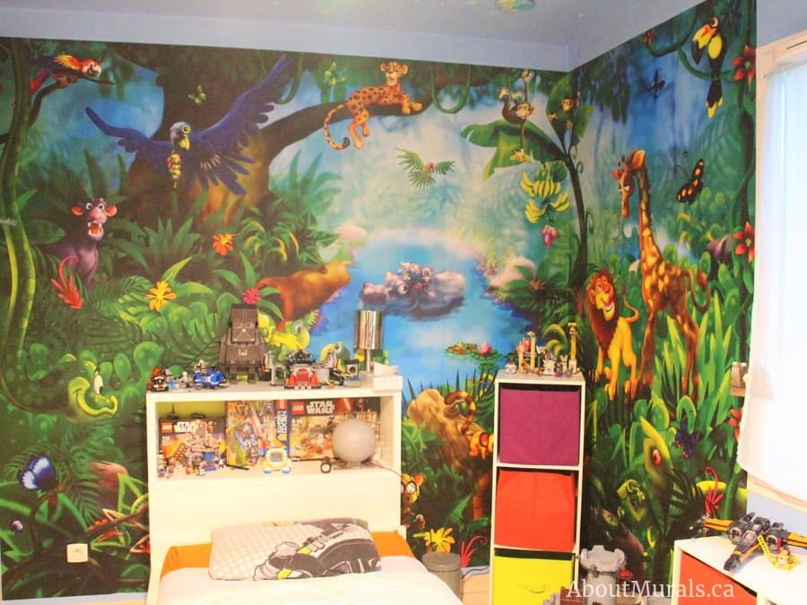 A kids jungle wallpaper in a child's bedroom, sold by AboutMurals.ca