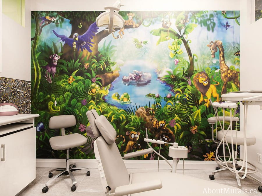 A kids jungle wallpaper found in a dentist office, sold by AboutMurals.ca