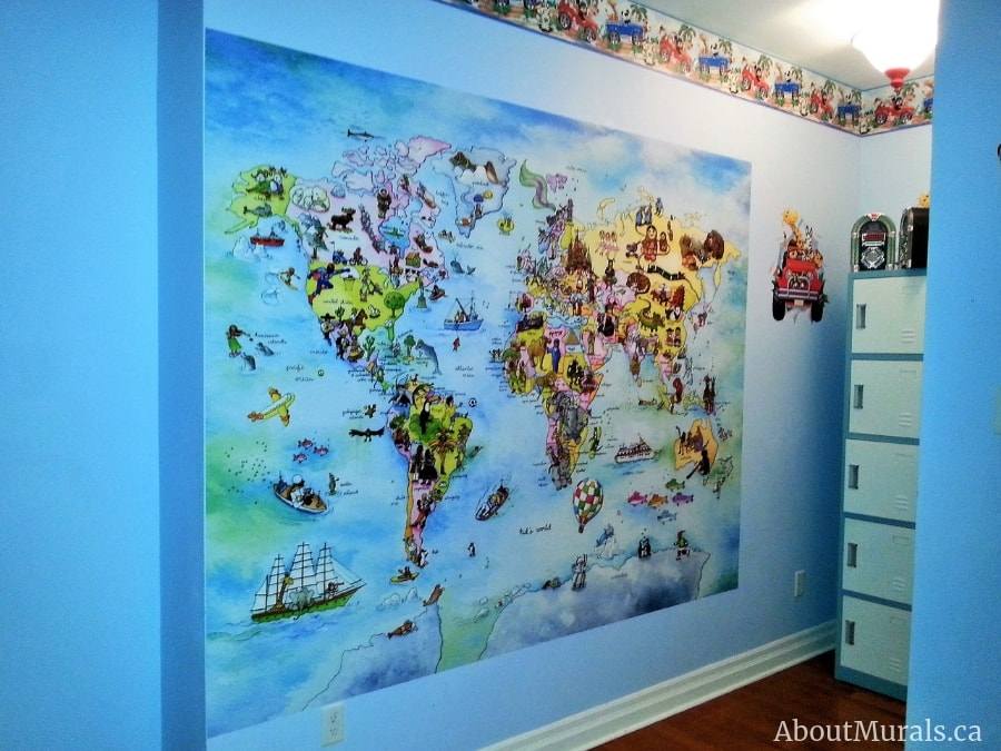 A kids world map wallpaper in a boy's bedroom, sold by AboutMurals.ca