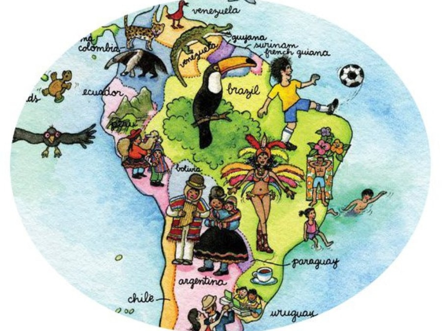 A close-up photo of a kids world map wallpaper sold by AboutMurals.ca featuring a soccer player, toucan, Brazilian dancer and other animals in South America