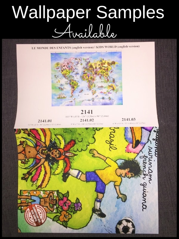 Buy a sample of this kids world map wallpaper from AboutMurals.ca