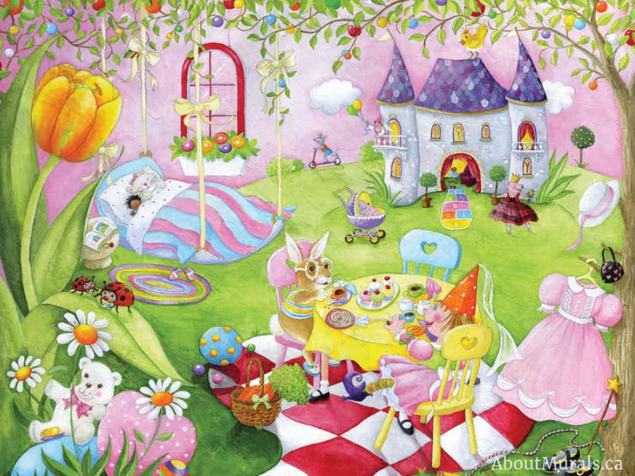 A tea party mural featuring princess dolls having a picnic on castle grounds, sold by AboutMurals.ca