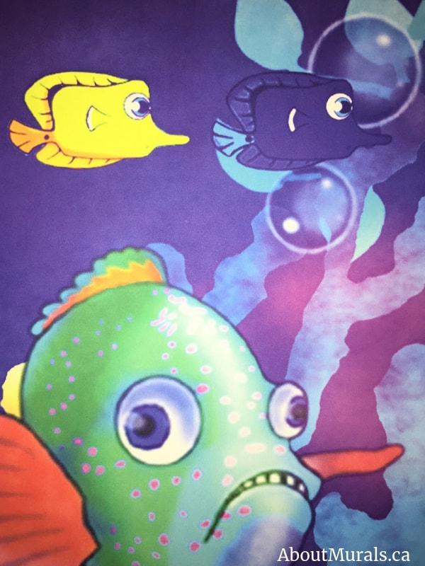 A close up photo of an underwater mural, sold by AboutMurals.ca