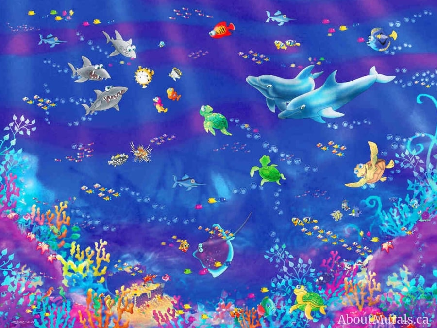 An underwater mural that's perfect for kids, sold by AboutMurals.ca