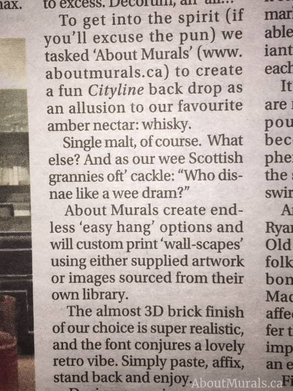 Read what Colin and Justin wrote about the custom wallpaper supplied by AboutMurals.ca in the Toronto Sun
