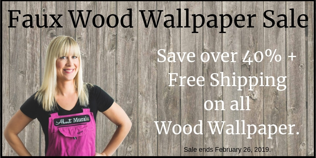 Faux Wood Wallpaper Sale from AboutMurals.ca. Save over 40% on all wood patterned removable wallpaper.