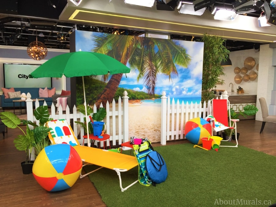 A beach mural with a tropical palm tree is seen on set at Cityline. Removable wallpaper provided and installed by AboutMurals.ca